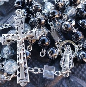 8 mm Mix Glass Beads Catholic Rosary